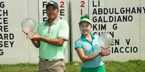 Norman Xiong (L) and Lucy Li after Junior PGA Championship victories <br>(PGA of America Photo)</br>
