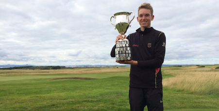 Falko Hanisch of Germany with British Boys' Amateur trophy <br>(R&A Photo)</br>
