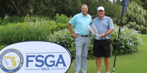Michael Weeks (R) with Florida Senior Open trophy <br>(FSGA Photo)</br>