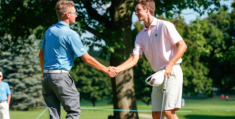 Alex Smalley (L) shakes hands with Dylan Meyer (R) after Round of 32 match <br>(USGA Photo)