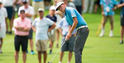Dylan Meyer watches putt during Round of 16 <br>(USGA Photo)