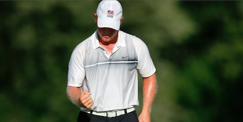 Brad Dalke reacts to a made putt in the U.S. Amateur Round of 16 <br>(USGA Photo)