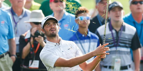 Curtis Luck watches a shot during his semifinal win over Jonah Texeira <br>(USGA Photo)