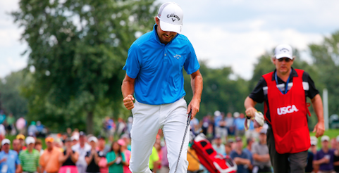 Curtis Luck pumps his first after winning the 25th hole <br>(USGA Photo)