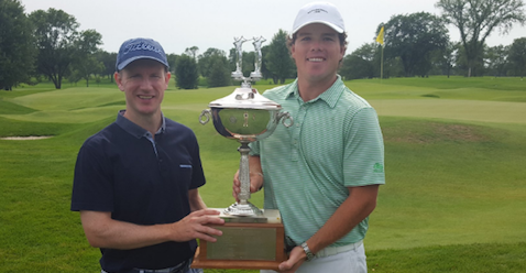 Jesse Bull (L) and Andrew McCain (R) hold Minnesota Four-Ball trophy <br>(MGA Photo)
