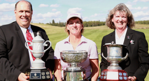 Judith Kyrinis couldn't hold all the hardware herself <br>(Hugo Sanchez/ Golf Canada Photo)