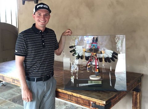 Cory Bacon won the tournament, and possibly one of <br>the coolest trophies in golf (courtesy Cory Bacon Twitter)