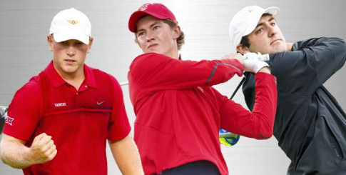 Brad Dalke (L), Maverick McNealy (C) Scottie Scheffler<br>(USGA Photo)