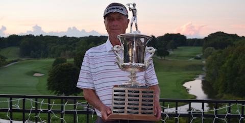 Mark Bemowski holds Wisconsin Senior Amateur trophy <br>(WGA Photo)