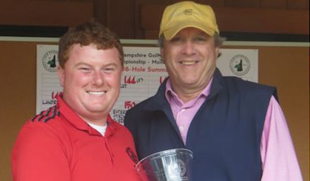 Phil Pleat (R) has made a habit of receiving the New Hampshire Senior trophy <br>(NH Golf Association Photo)
