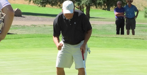 Kevin Ott fist pumps after his tournament clinching birdie on the final hole <br>(CGA Photo)