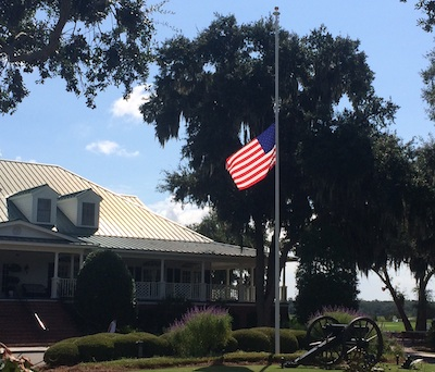 The U.S. flag flown at half mast on 9/11 at Secession Golf Club<br>which lost two of its members 15 years ago