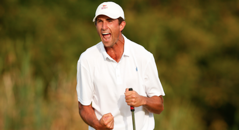 Stewart Hagestad celebrates his U.S. Mid-Amateur winning birdie <br>(USGA Photo)