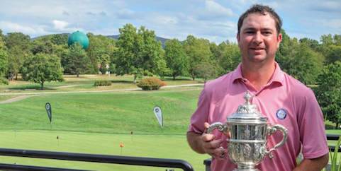 Matt Chandler holds Virginia Mid-Amateur trophy for second straight year <br>(VSGA Photo)