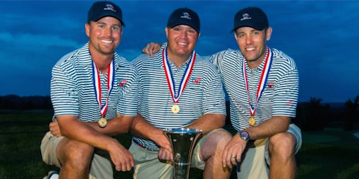 2014 Team Texas winners Aaron Hickman (L), Colby Harwell (C) and Zach Atkinson (R) <br>(USGA Photo)