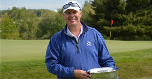 Bill Hermanson hopes to be holding the Connecticut Senior Amateur<br> trophy for a second straight year <br>(CSGA Photo)