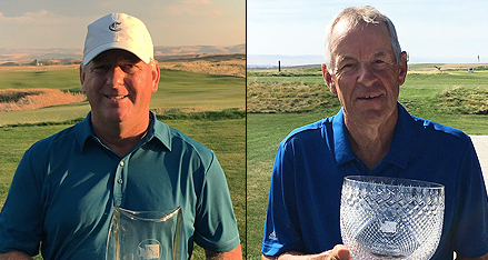 Senior winner Brad Karns (L) and Super Senior winner Gudmund Lindbjerg (R) <br>(Washington State Golf Association Photo)