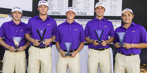 LSU celebrates David Toms Intercollegiate <br>(LSU Athletics Photo)