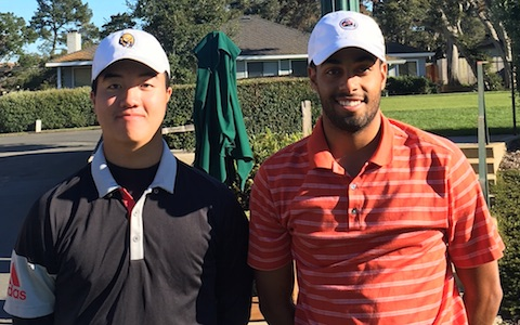 Sean Yu (left) and Sebastian Crampton are tied with Ashkaan Hakim<br> after posting 2-under par 70 at Del Monte G.C.