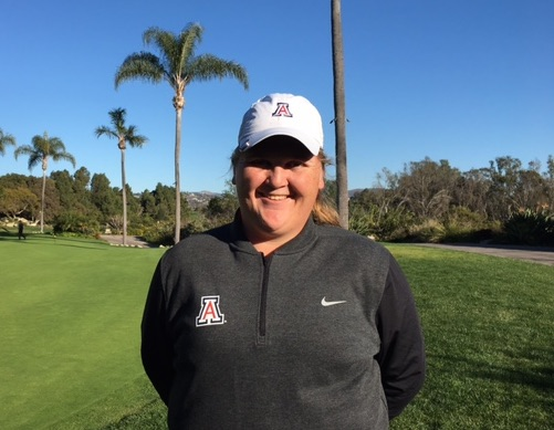 Haley Moore is all smiles after her first round 65