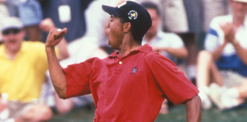 Tiger Woods had has signature fist pump even as an amateur <br>(USGA Photo)