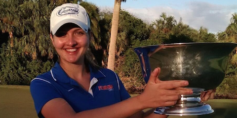 Florida's Kelly Grassel holds The Sally trophy <br>(Photo Courtesy of The Sally)