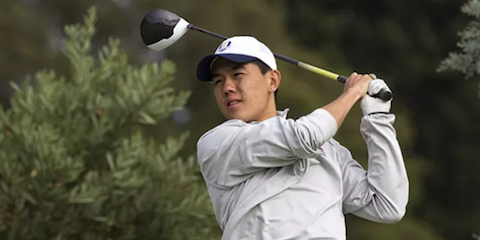 Kevin Yuan watches a drive during round two Australian Amateur action <br>(Golf Australia Photo)