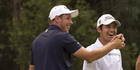 Playing opponent Shae Wools-Cobb congratulating Matias Sanchez <br> after his quarterfinals hole-in-one <br>(Golf Australia Photo)