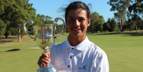 Matias Sanchez holds the Australian Amateur Championship trophy <br>(Golf Australia Photo)