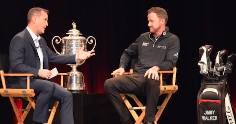 Peter Sands (L) and Jimmy Walker (R) at the Titleist PGA Merchandise Show <br>(AmateurGolf.com Photo)