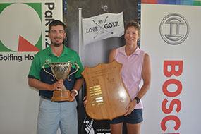 New Zealand Mid-Amateur winners Brent Curnow (L) and Shelley McElroy (R) <br>(Golf Zealand Photo)