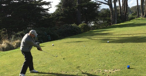 Kyle Wilkinson on Hole 17 at TPC Harding Park (AmateurGolf.com photo)