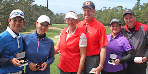 Big Sur Flight champs Itsuko Moridaira and Takeshi Usuzaka, <br>runner-ups Dorothy and Steve Donnelly and <br>third place finishers Angie and John Friedrich (left to right) <br>(NCGA Photo)