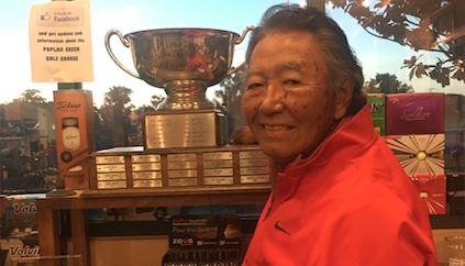 Jim Ono with the San Mateo Senior Division Trophy <br>(Photo Courtesy of Poplar Creed Head Professional Dana Banke)