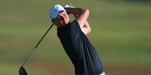 Cameron John watches his drive on the 18th hole <br>(Golf Australia Photo)