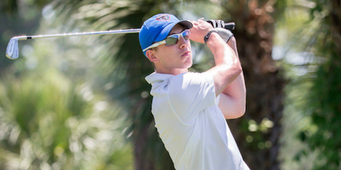 Jonathan Hewett of DePaul is part of a three-way medalist lead <br>(DePaul Athletics Photo)