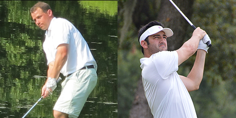 Joseph Deraney (L) and Justin Kaplan (R),<br>co-leaders of the Carlton Woods Invitational