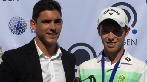 Marco Steyn (right) after his victory at the Prince's Grant Amateur <br>(South Africa Golf Association Photo)