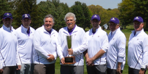 Connecticut Section PGA captain Dennis Coscina <br>holds the Julius Boros Challenge Cup <br>(CSGA Photo)