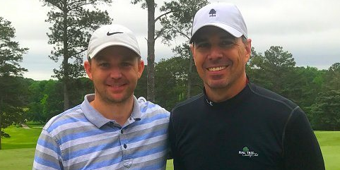Day one leaders Andy McRae (L) and Vic Kyatt III (R) <br>(Alabama Golf Association Photo)