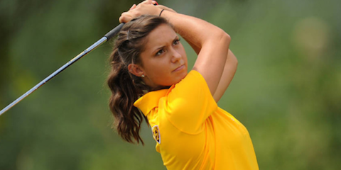 Medalist winner Monica Vaughn of Arizona State  (ASU Photo)