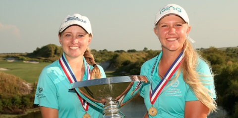 2016 winners Kaitlyn Papp and Hailee Cooper hold <br>U.S. Women's Amateur Four-Ball trophy </br>(USGA Photo)
