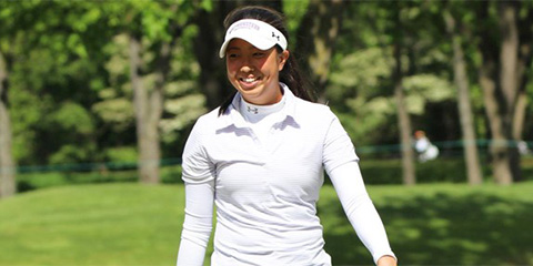 Kacie Komoto is all smiles after helping Northwestern extend<br>their lead at the NCAA Women's Championship<br>(Northwestern photo)
