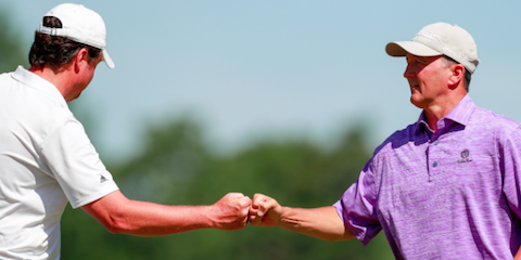 2015 U.S. Amateur Four-Ball winners Nathan Smith (L) and Todd White (R) <br>(USGA Photo)