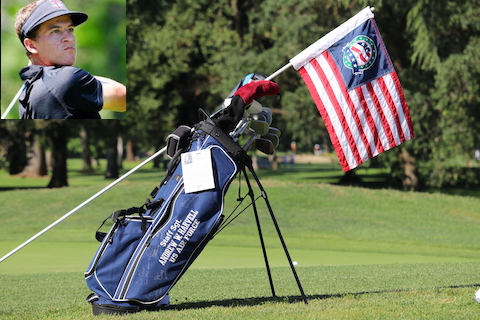 Cameron Champ, with his bag from the Patriot All America<br>and the USA flags used at the Memorial Amateur