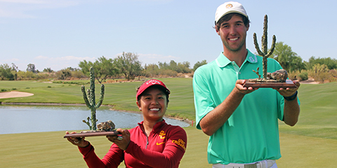 AJGA Thunderbird winners Alyaa Abdulghany (L) and Jacob Bergeron (R) <br>(AJGA Photo)