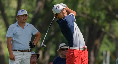 Memorial Amateur champ Alex Lee, decked out in red, white, and blue<br>photo courtesy John Schmidt