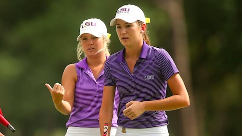 Kathleen Gallagher (left) won a pair of matches on Tuesday <br>with future LSU teammate Kendall Griffin. (USGA/Darren Carroll)