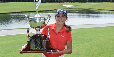 Winning the Carolina Women's Am is a family business for Rachel Kuehn<br>(Carolinas Golf Association photo)