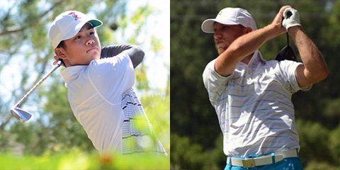 Shintaro Ban (L) and Justin Tereshko,<br>the 36-hole leaders of the Monroe Invitational